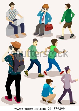 several isometric people set. young, adult, boss, photographer, business, sport - stock vector