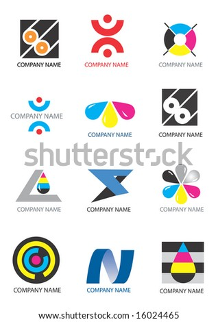 Several logos for use on a company logo. Vector illustration - stock vector