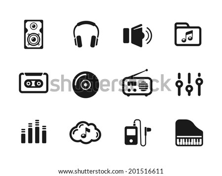 Several music themed icons on white background - stock vector
