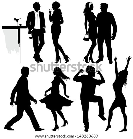 Several people are dancing on the party, vector silhouettes - stock vector