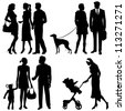 several people on the street - vector silhouettes - stock photo