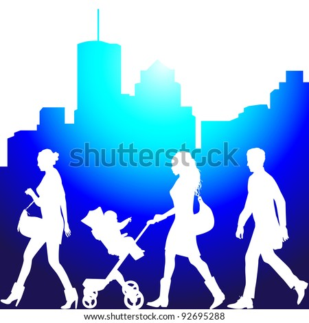 several people on the street - vector silhouettes - stock vector