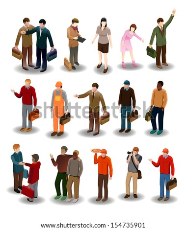 several people vector. detailed business people vector illustration series.see the others - stock vector