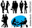 several people - vector silhouettes - stock vector