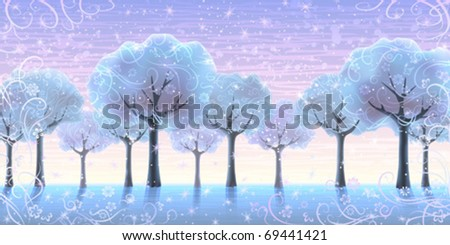 Several snowy trees growing in a line against winter sky background (some background trees are not 100% drawn) - stock vector