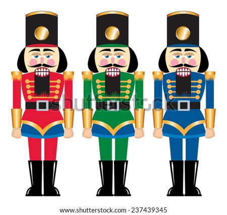 Several toy nutcracker soldiers made of wood - stock vector