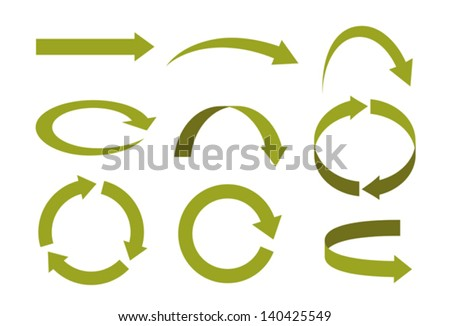 Several types of arrows in various forms and directions - stock vector