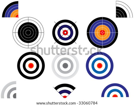 several types of targets - stock vector