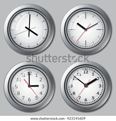 Several variants of watch dials. Clock. Picture hours. Watch for wall mounting. Image hours. Digital Watch. Dial hours. Clock hands. The clock shows the time. Hours minutes. - stock vector