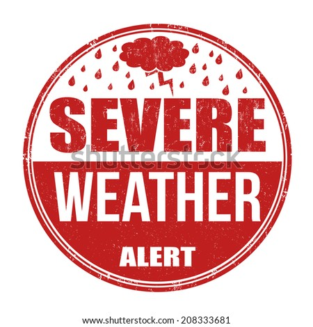 Severe weather alert grunge rubber stamp on white background, vector illustration - stock vector