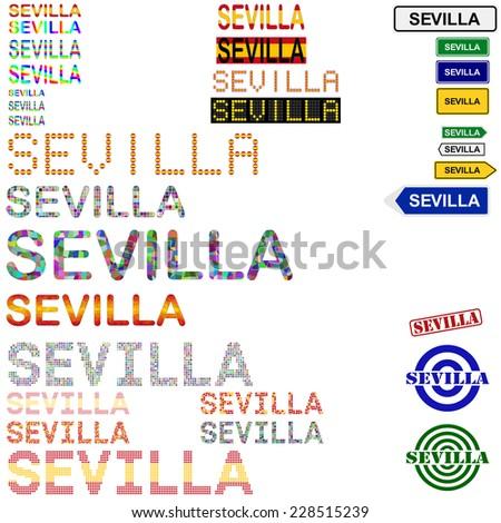 Sevilla (Seville) text design set - stock vector