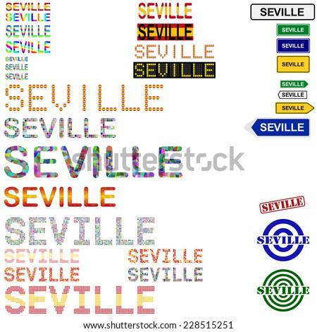 Seville (Sevilla) text design set - stock vector
