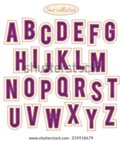 sew collection - hand made purple and yellow stitch letters - stock vector