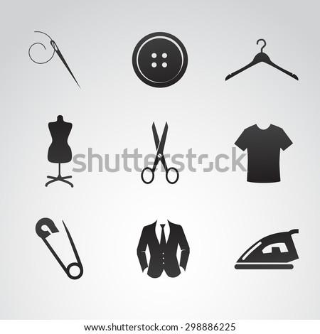Sew icon set. Vector art. - stock vector