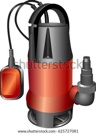 Sewage red pump. Dirty water pump. Vector illustration