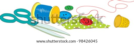 sewing accessories dressmaker - stock vector