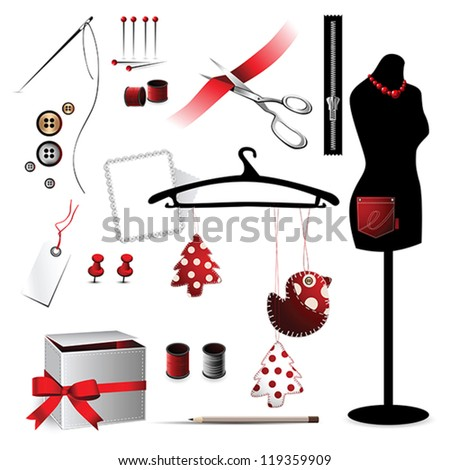 Sewing accessories elements icon red - stock vector