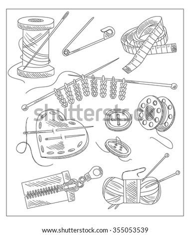 Sewing Accessories. Vector illustration in sketch style. Hand drawn design elements.