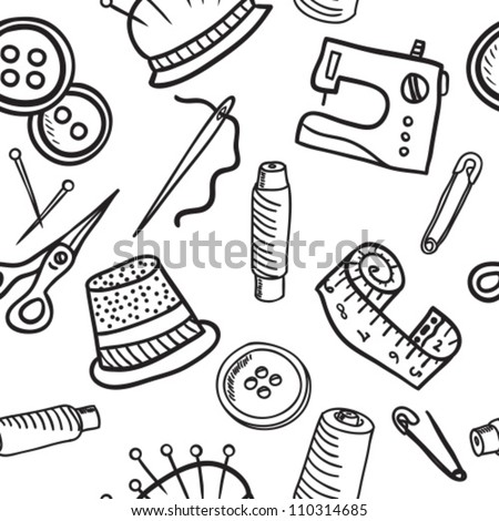 Sewing and accessories seamless pattern - hand drawn illustration - stock vector