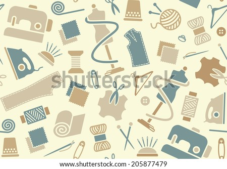 Sewing and needlework background - stock vector