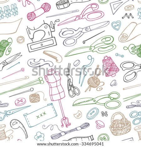 Sewing and needlework doodle icons seamless pattern.Linear hand drawing sketch.Vintage isolated object.Vector hand made supplies,knitting equipment.Design template. Linear background - stock vector