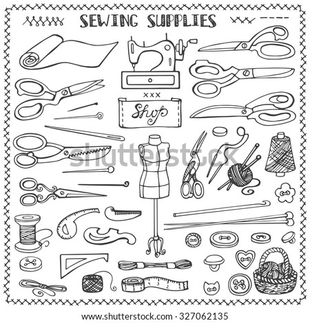 Sewing and needlework doodle icons set.Linear hand drawing sketch.Vintage isolated object.Vector hand made supplies,knitt equipment.Design template. - stock vector