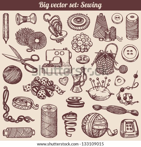 Sewing And Needlework Doodles Collection Vector - stock vector