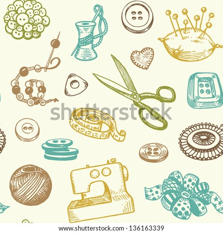Sewing And Needlework Doodles Seamless Pattern Vector - stock vector