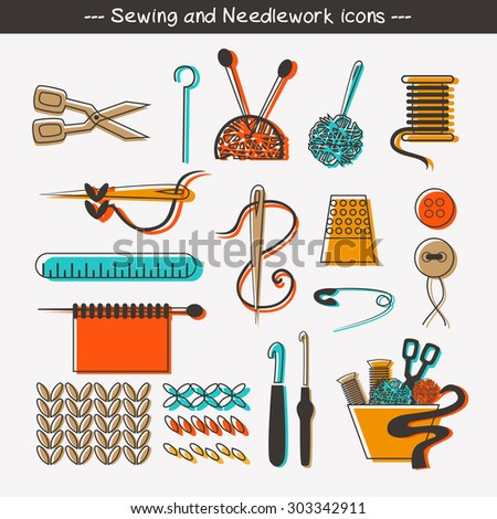 Sewing and needlework icons and design elements. - stock vector