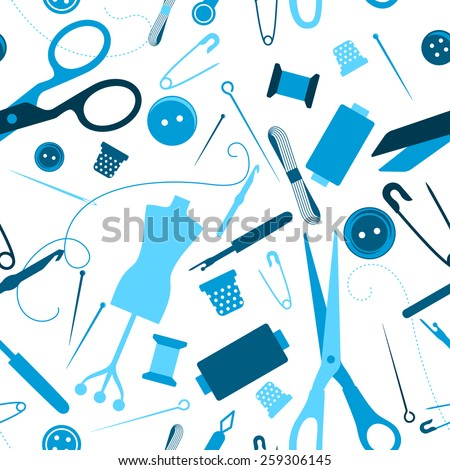 Sewing and needlework seamless pattern with needle, threads, sew, pin, button and other items - stock vector