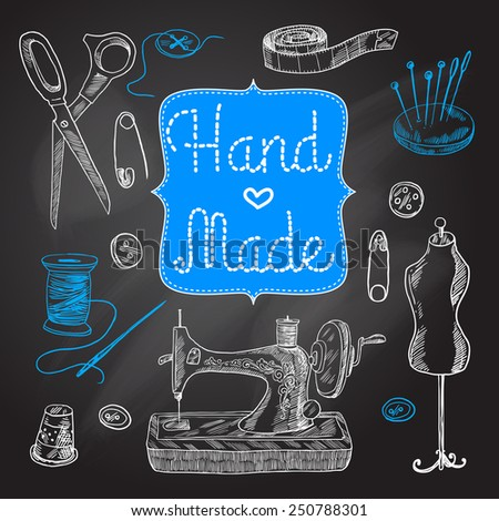 Sewing  and tailoring chalkboard set with machine scissors button vector illustration - stock vector