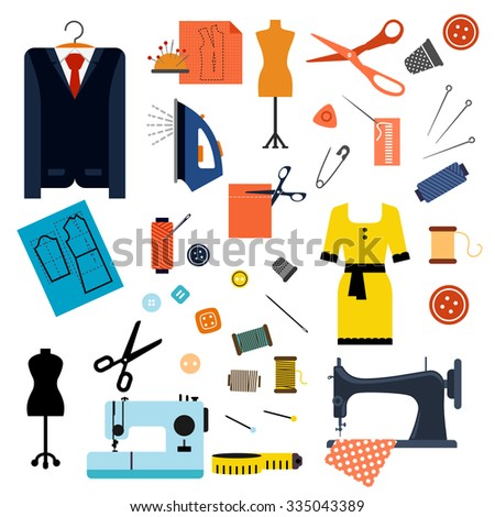 Sewing and tailoring flat icons with sewing machines needles scissors pins buttons threads iron thimbles mannequins measuring tape, elegant dress and suit - stock vector