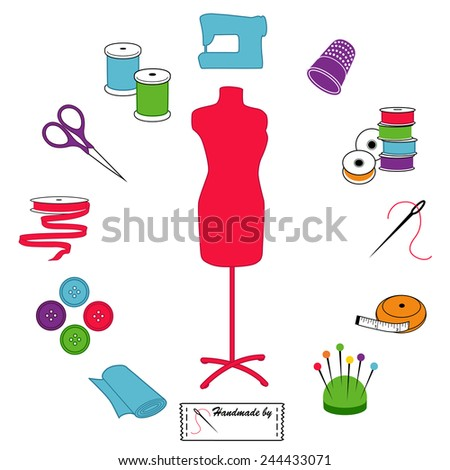 Sewing and Tailoring Icons. Fashion model with tools and supplies for do it yourself sewing, tailoring, dressmaking, needlework and crafts pastel circle design. EPS8 compatible. - stock vector