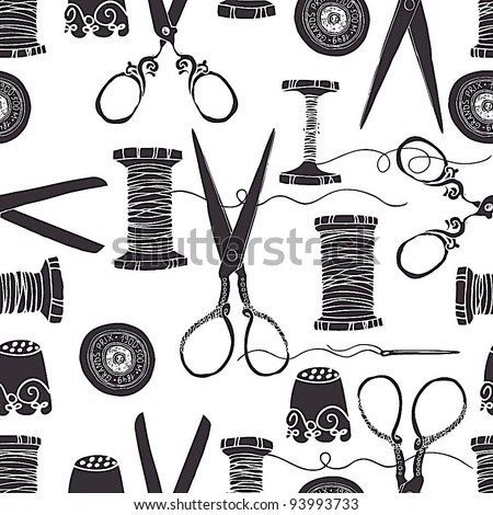 Sewing background - stock vector