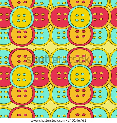 sewing buttons seamless pattern - stock vector