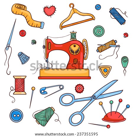 Sewing color set. Isolated on white. Vector cartoon illustration. - stock vector