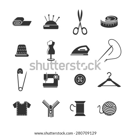 Sewing dressmaking and tailoring icon black set isolated vector illustration - stock vector