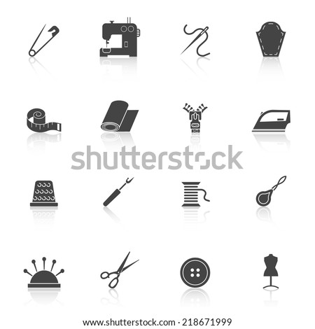 Sewing equipment and dressmaking accessories icons set black isolated vector illustration - stock vector