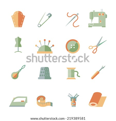 Sewing equipment and dressmaking accessories icons set flat isolated vector illustration - stock vector