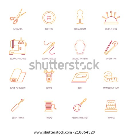 Sewing equipment and dressmaking accessories icons set flat line isolated vector illustration - stock vector