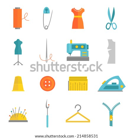 Sewing equipment and dressmaking accessories icons set with needle tape measure zipper flat isolated vector illustration - stock vector
