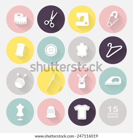 Sewing equipment and needlework. Multicolored icons for sewing, knitting, needlework, pattern. Small device. Vector illustration - stock vector