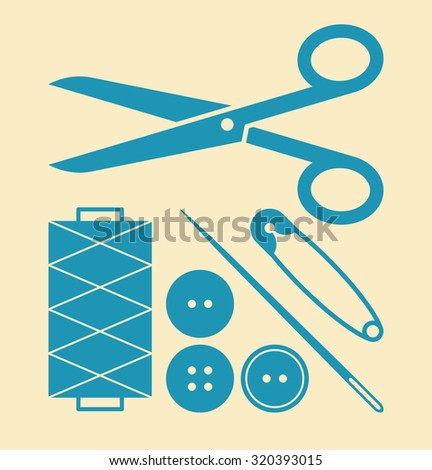 Sewing equipment and needlework set on light background - stock vector