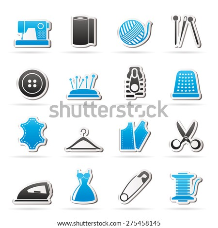 sewing equipment and objects icons - vector icon set - stock vector