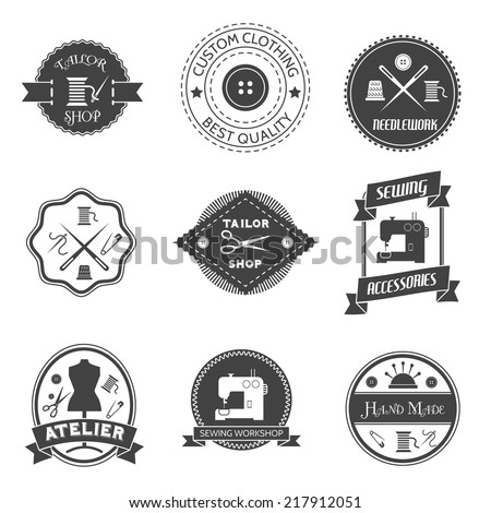 Sewing equipment atelier tailor shop label set isolated vector illustration - stock vector