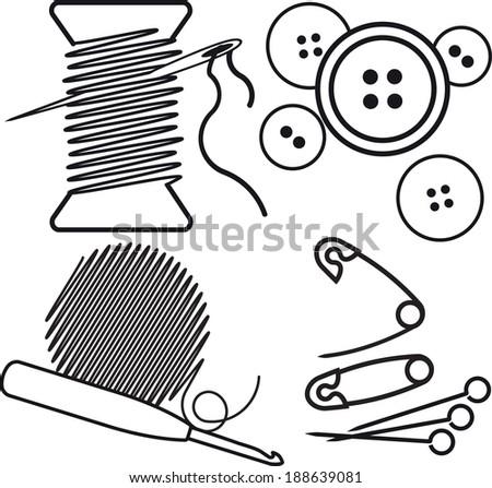 Sewing equipment. Vector illustrations. - stock vector