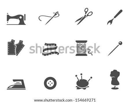 Sewing icons in black & white - stock vector