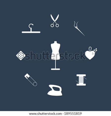 Sewing icons set. Vector illustration - stock vector