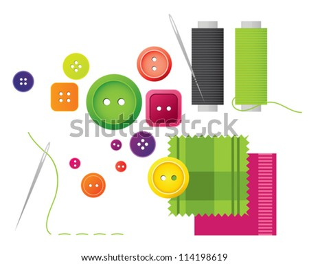 Sewing kit with buttons, thread and needle - stock vector