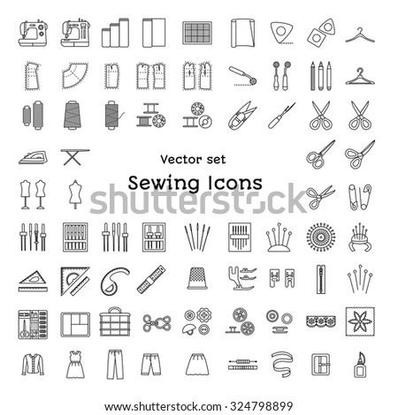 Sewing line icons set. Tailoring supplies and accessories. Fabric, needle, thread, scissors, sewing machine, pin, organizer, iron, zipper, spool, kit, pattern, dummy. Vector illustration. - stock vector